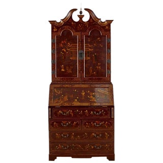 English George III Style Chinoiserie Lacquered Secretaire For Sale