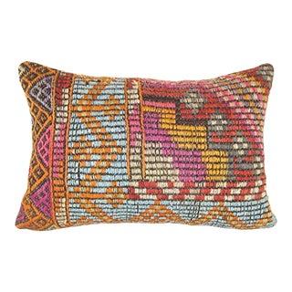 Vintage Turkish Cicim Kilim Pillow Cover, Oblong Ethnic Cushion 14'' X 20'' (35 X 50 Cm) For Sale