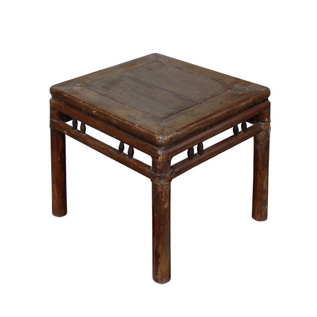 Chinese Handmade Vintage Finish Square Wood Stool Table For Sale - Image 4 of 6