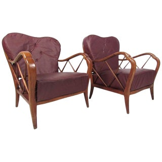 Pair Italian Modern Paolo Buffa Style Lounge Chairs For Sale