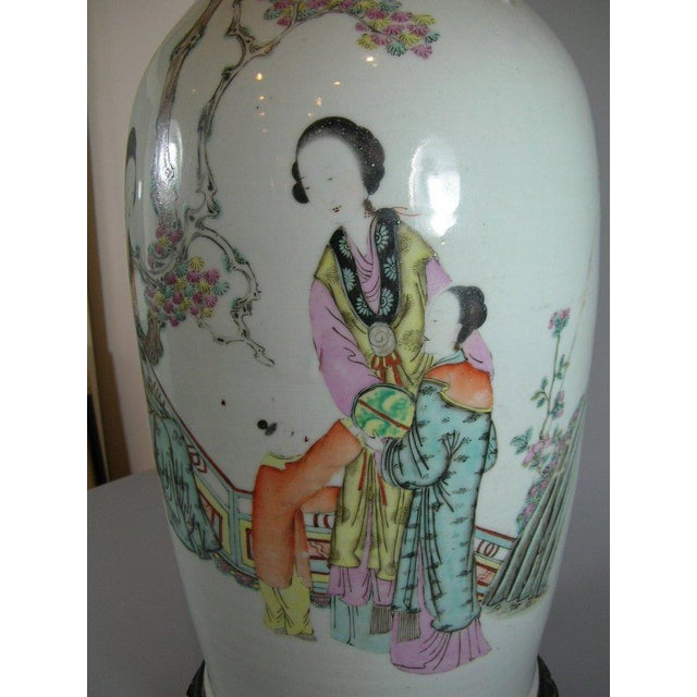 Antique Chinese Famille-Rose Glazed Table Lamp - Image 4 of 11