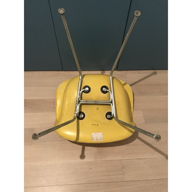 1970s 1970s Mid-Century Modern Herman Miller Yellow Fiberglass Eames Shell Side Chair For Sale - Image 5 of 7