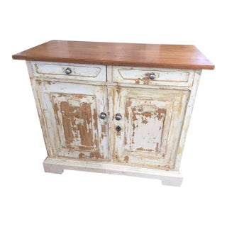 1900s French Style Anthropologie Painted Kitchen Cupboard For Sale