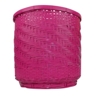 Vintage Pink Wicker Basket
