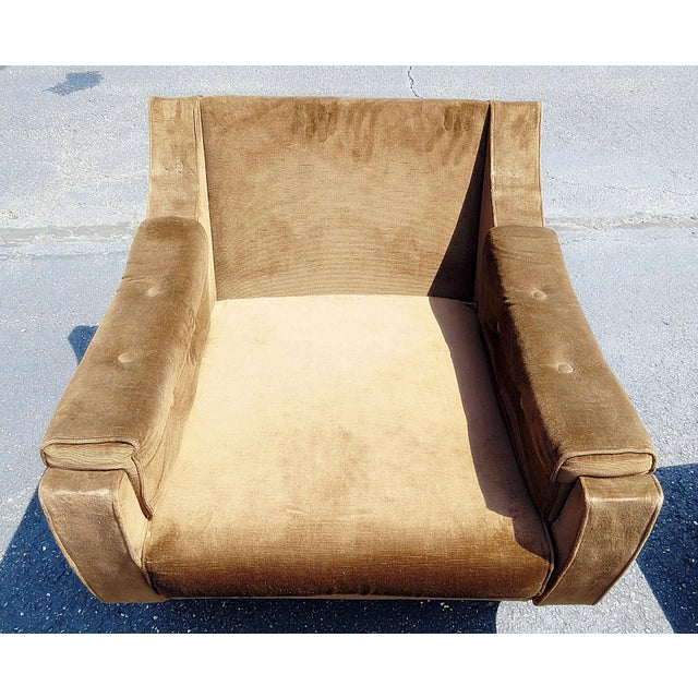 Textile Pair of Mid-Century Modern Oversized Lounge Chairs For Sale - Image 7 of 11