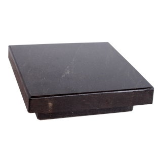 Vintage Industrial Chic Solid Black Granite Surface Level Stone / Cheese Board For Sale