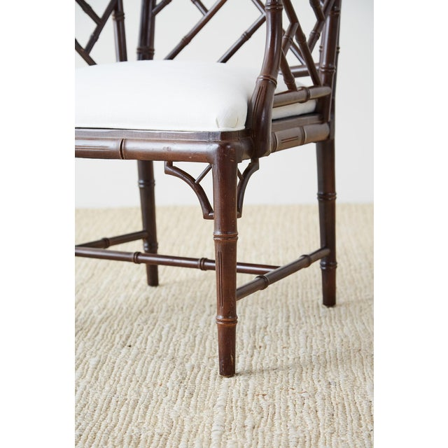 Chinese Chippendale Chocolate Lacquered Faux Bamboo Dining Chairs For Sale - Image 10 of 13