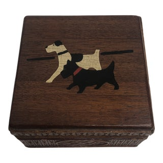 Vintage Hand Painted Dog Box For Sale