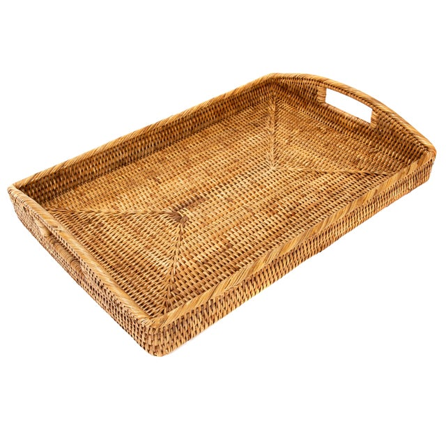 "Artifacts Rattan Rectangular Tray 21""x14""x2"" For Sale"