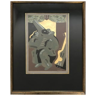 """Polichinelle With a Book"" Pochoir Gold Leaf Lithograph by G. Severini For Sale"