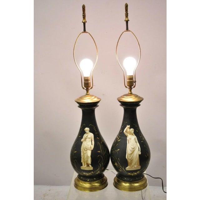 Antique French Neoclassical Black Porcelain Classical Bulbous Table Lamps - a Pair. Item features black bulbous porcelain...