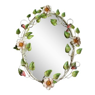1950s Italian Painted Floral Tole Mirror For Sale