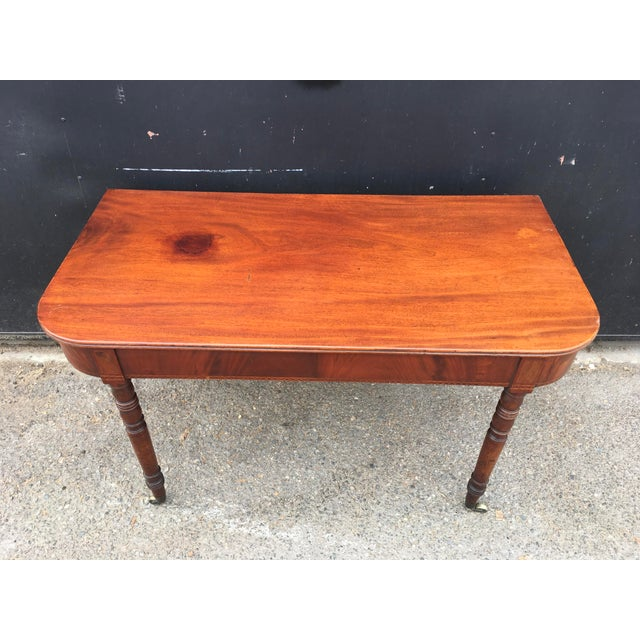 Antique English Walnut Writing Desk on Brass Casters For Sale - Image 4 of 11