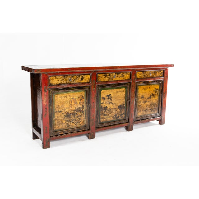 Brown Chinese Sideboard With Three Drawers and Three Doors For Sale - Image 8 of 9
