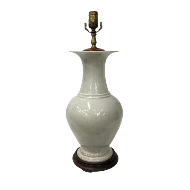1960's Blanc De Chine Crackle Vase Lamp For Sale - Image 4 of 4