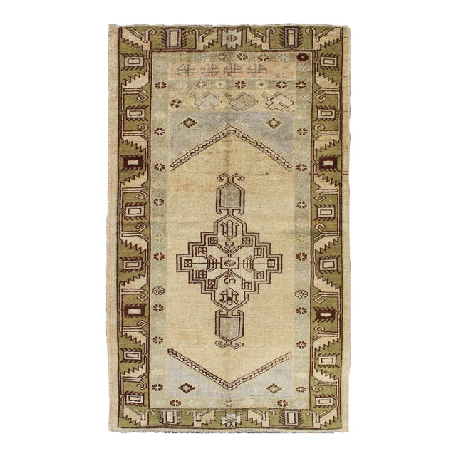 1940's Vintage Turkish Tribal Oushak Rug in Green, Cream and Light Blue - 3′5″ × 6′2″ For Sale