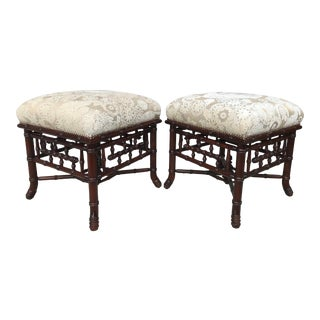 Pair of Faux Bamboo Benches For Sale