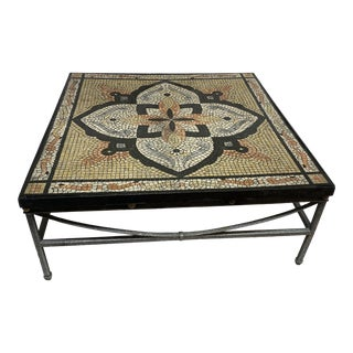 Boho Faux Mosaic Painted Tile Coffee Table For Sale