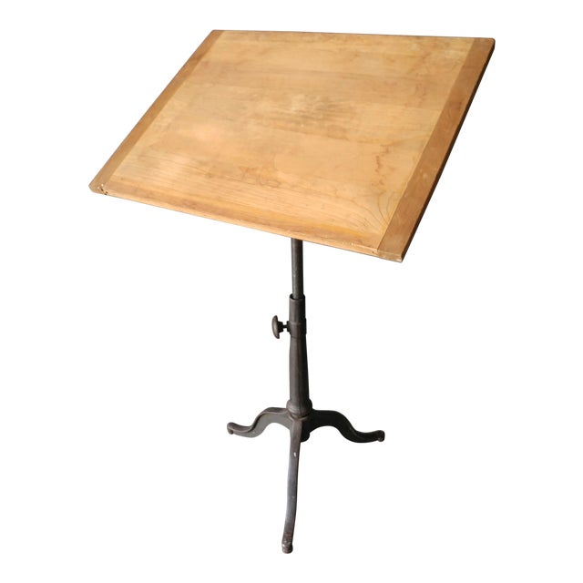 Industrial Drafting Table With Cast Iron Base For Sale