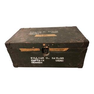 Vintage Industrial Military Wood Foot Locker Trunk For Sale