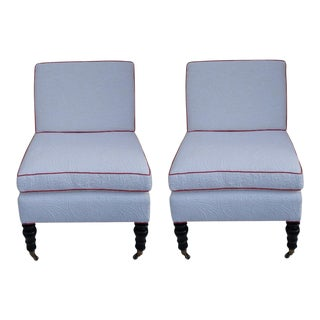 Custom Brunschwig & Fils Slipper Chairs - a Pair For Sale