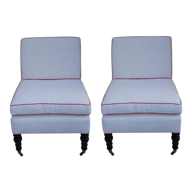 Custom Brunschwig & Fils Slipper Chairs - a Pair For Sale