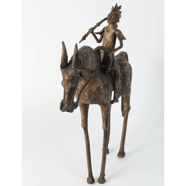 Mid 20th Century African Brass Sculpture of a Tribal Warrior on Horse For Sale - Image 5 of 9