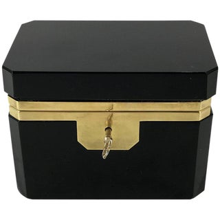 Fine Black Opaline Bronze-Mounted Table Box, with Key For Sale