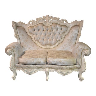 1970s Vintage Carved Italian Renaissance Style Loveseat For Sale