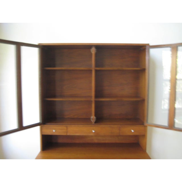 Metal 1960s Mid Century Walnut Two Piece Credenza For Sale - Image 7 of 10