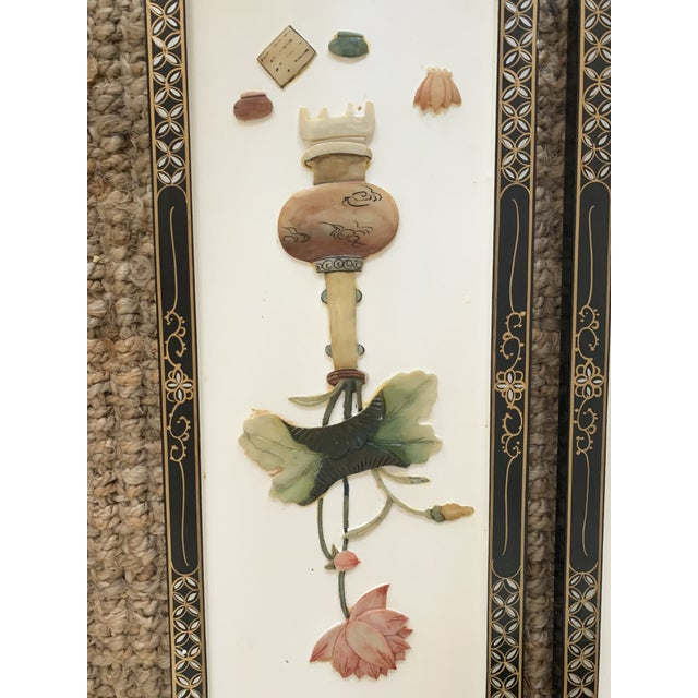Early 20th Century Early 20th Century Asian Wall Panels - Set of 4 For Sale - Image 5 of 13