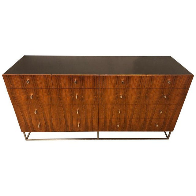 Hollywood Regency Style Rougier Rosewood and Black Lacquer Credenza Chest Server For Sale - Image 10 of 10