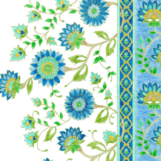 Ferran Indianas Fabric, 2 Yards, Lapis in French Cotton Twill For Sale