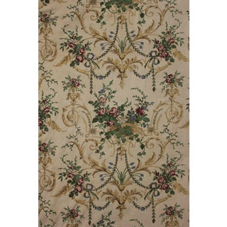 Antique 1880s French Rococo Design Printed Linen Bed Hanging / Curtain Fabric For Sale