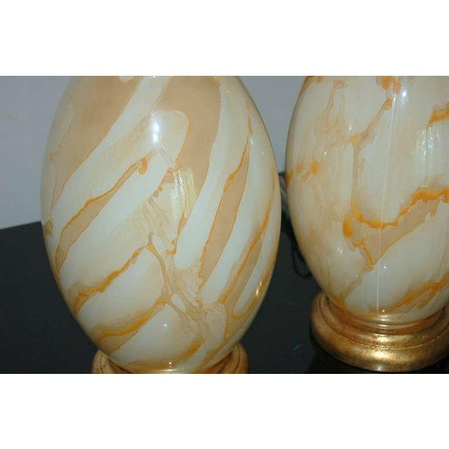 Gold Vintage Italian Glass Table Lamps Peach Swirl For Sale - Image 8 of 8