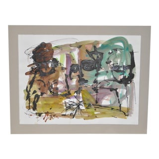 Contemporary Abstract Watercolor w/ Figures c.1994