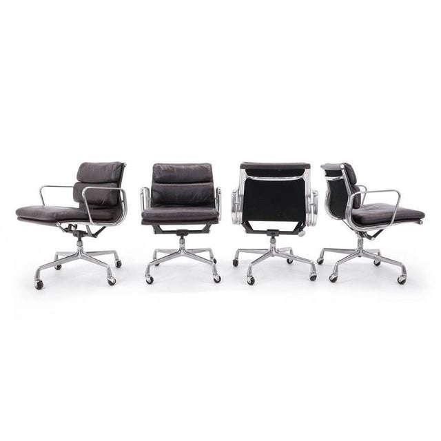Eames for Herman Miller Leather Soft Pad Aluminum Group Armchairs buy any number - Image 6 of 10