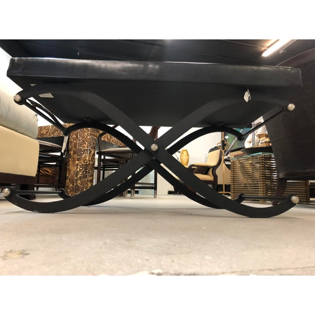 Modern Global Views Iron and Black Leather Ottoman For Sale In West Palm - Image 6 of 12