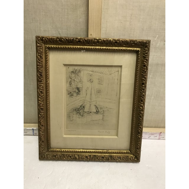 La Fontaine etching by Raoul Dufy. Signed on authentic paper with GG watermarking. Framed in a gold leaf. Professionally...