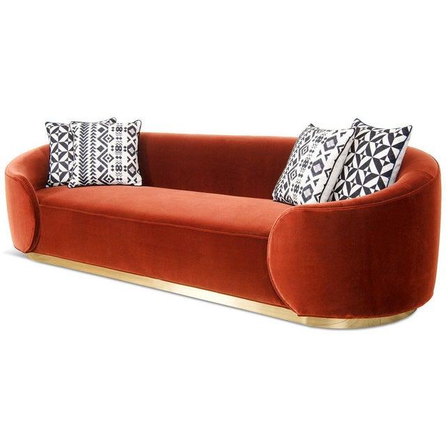Contemporary Eden Rock Sofa in Paprika Velvet For Sale - Image 3 of 6