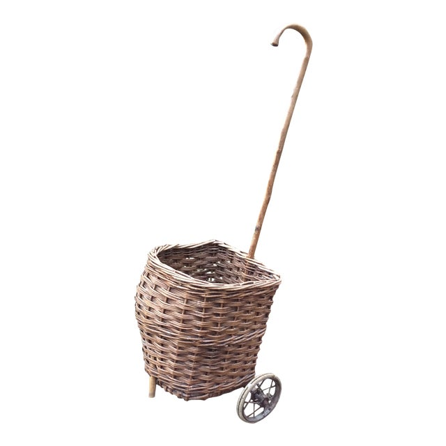 Vintage French Woven Shopping Cart on Wheels For Sale