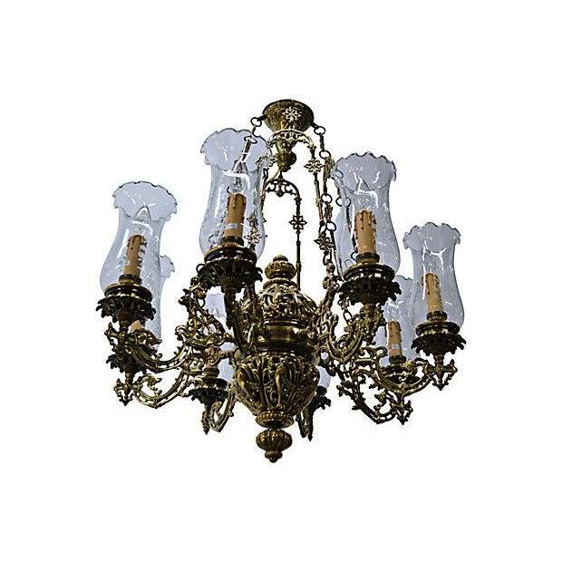 Antique Brass Chandelier 8 Lights W/Windshields - Image 2 of 7