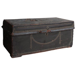 19th Century Leather-Covered Coaching Trunk For Sale