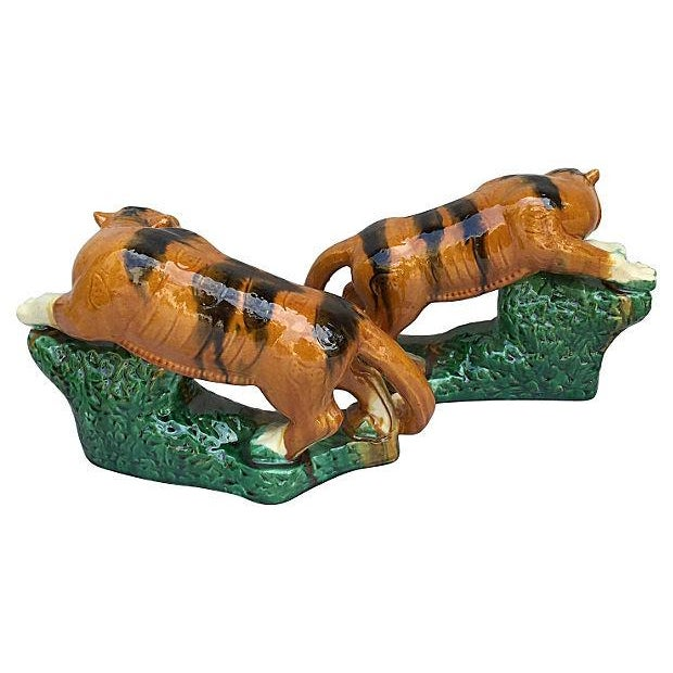 Glazed Terracotta Tigers - A Pair For Sale - Image 7 of 7