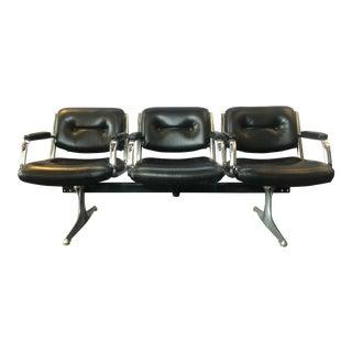 1960s Midcentury Vinyl + Aluminum 3- Seater Tandem Bench For Sale