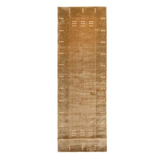 Contemporary Maze Design Geometric Beige Wool and Silk Runner - 3′1″ × 9′6″ For Sale