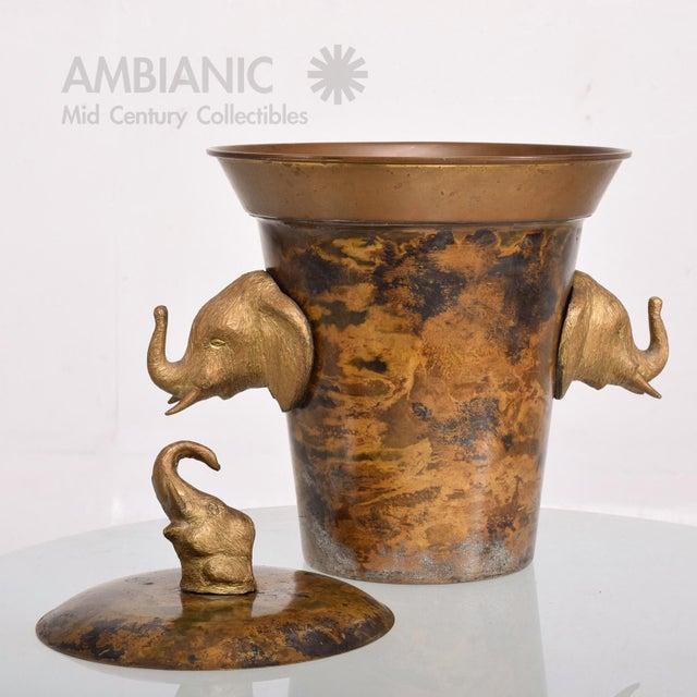 Brass Hollywood Regency Elephant Ice Bucket For Sale - Image 7 of 8