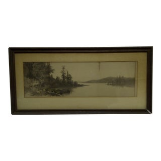 """Vintage """"Mountain Lake"""" Framed and Matted Print For Sale"""