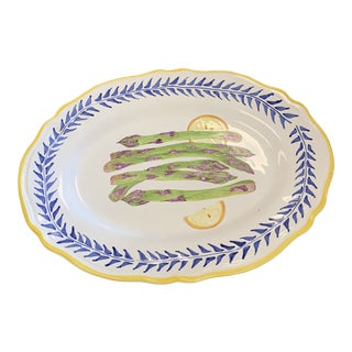 Italian Hand Painted Asparagus Serving Platter For Sale