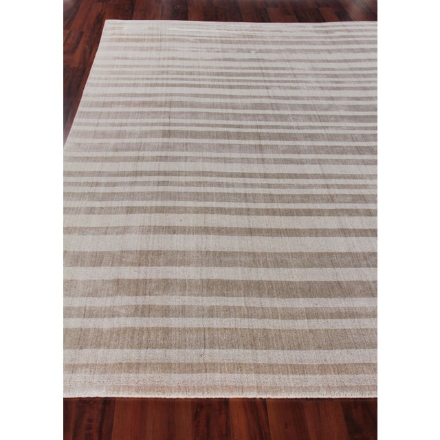 """Iscar Hand loom Wool/Viscose Mineral Rug-6'x9"""" For Sale - Image 4 of 8"""